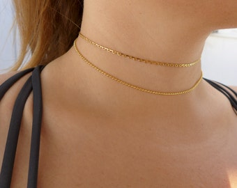 Gold Micro Ball Chain Choker Necklace  | Ball Chain Choker | Gold Choker | Thin Choker | Dainty Choker | Chain Choker | Micro Choker |