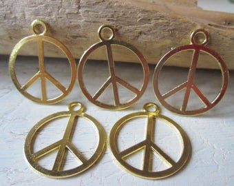 5 Peace sign pendant charms peace sign Jewelry craft Jewelry pendant * Color gold * 25x21x1 mm