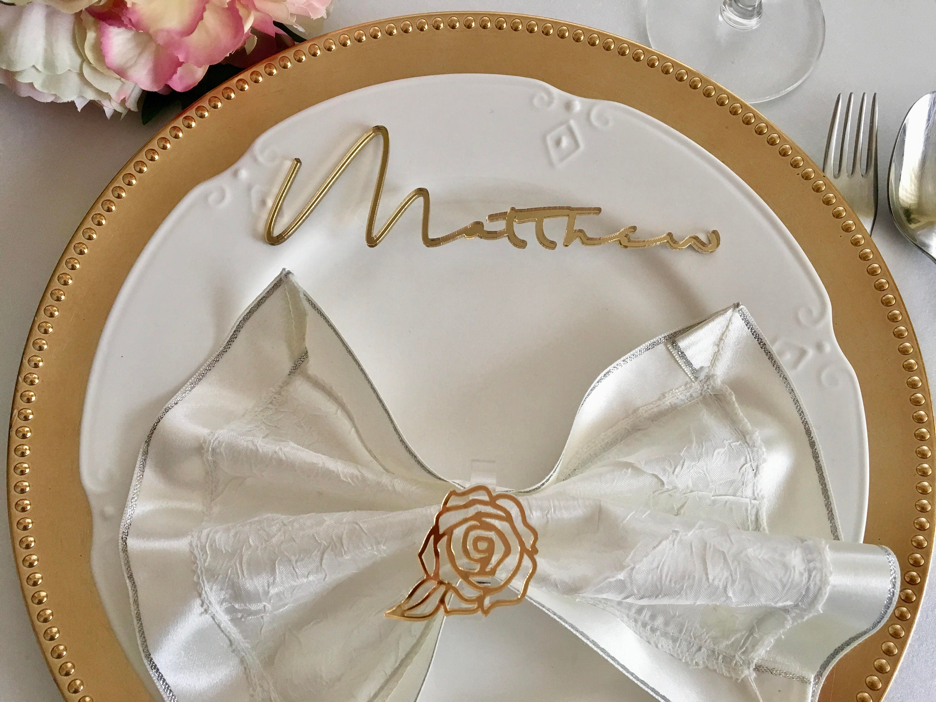 Personalized laser cut names Custom guests place cards Calligraphy ...