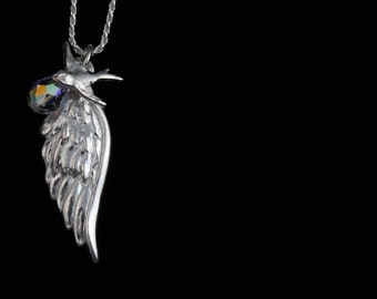 Fine Silver Wing Cluster Necklace with Swallow & Swarovski Crystal -  Fine Silver - Handmade Artisan Jewelry - ME Designs