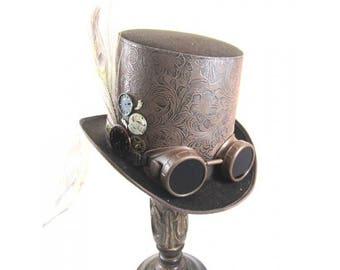 STEAMPUNK TOP HATS, Steampunk Shop, Steampunk Accessories, Brown Top Hat, Goggles, Feathers, Goggles