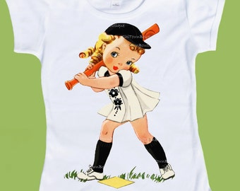 Baseball Girl T-Shirt, Girls Baseball T-Shirt, Any hair eye color, Infant Tank or One Piece Baby by ChiTownBoutique.etsy
