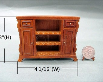 Wood Caved Miniature 1:12 Scale Small Semicircle Bar--Walnut