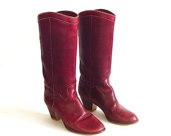 vintage Western Cordovan Leather Cowboy Boots