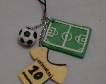 Keychain, bag charm or telephone Fimo football theme