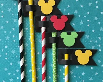 Mickey Paper Straws for a Mickey or Minnie Theme Party