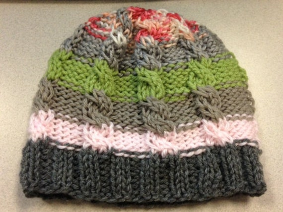 Simple Cabled Ski Beanie Hat Knitting Pattern