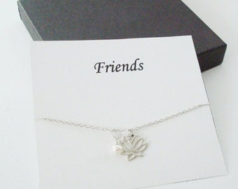 Lotus Charm with White Pearl Sterling Silver Necklace ~~Personalized Jewelry Gift Card for Friend, Best Friend, Sister, Bridal Party
