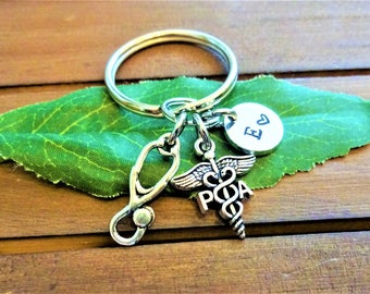 PA KEYCHAIN w initial charm - physicians assistant, stethoscope purse charm - Choose a keyring or clasp from pix - write in notes box
