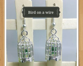 BIRD CAGE EARRINGS bird earrings green earrings animal earrings whimsical earrings fun earrings kitsch earrings cute earrings retro earrings