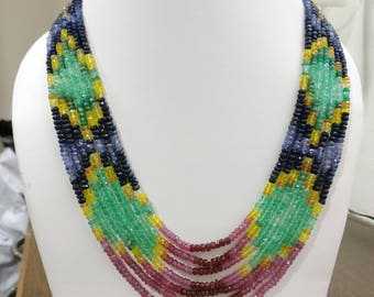Natural Seven 7 Rows Lines Strand Emerald Ruby Sapphire Mix Gemstone Multi Bead Necklace