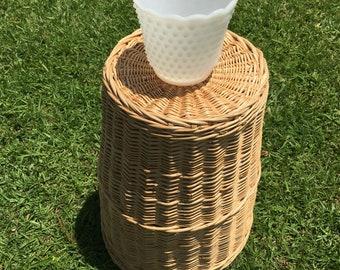 Milk white hobnail glass vase, no marks