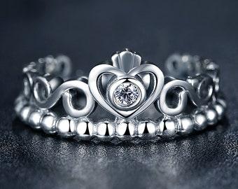 PA Crown Silver Women's Diamond Cubic Zirconia Ring (P)7110