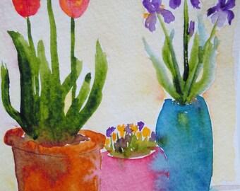 Tulip and Iris Pots Watercolor Notecard