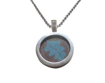 Blue Leaf Design Pendant Necklace