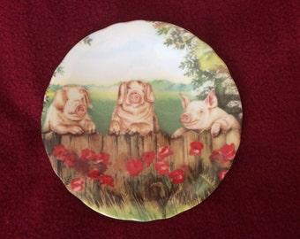 Fenton China Farm Animals by Ann Blockley Pin or Butter Dish 4.5 inch diameter