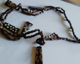 Vintage Wood-Carved African Tribal Necklace