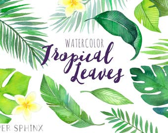 Watercolor Tropical Leaves Clipart | Palm Leaves Clipart - Summer Leaf Greenery - Wedding Invitation Clip Art - Instant Download PNGs
