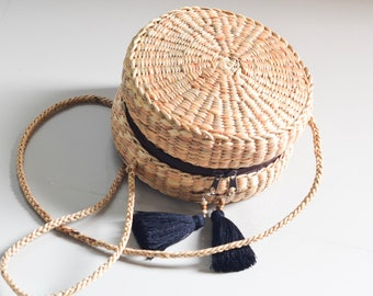 crossbody bag • Straw bag Thai Weaving seagrass(water hyacinth) • handmade straw bag with knitting strap • boho bag in round shape