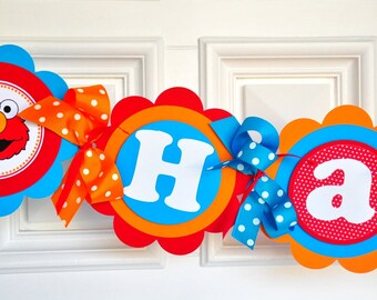 Elmo Party Banner, XL Elmo Banner in Red, Orange, Turquoise and Yellow, Elmo Birthday Party Decorations
