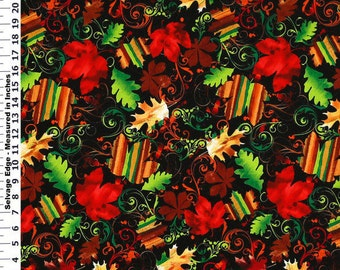 Cotton Fabric by the 1/4 Yard - Harvest Autumn Leaves and Scroll Cotton