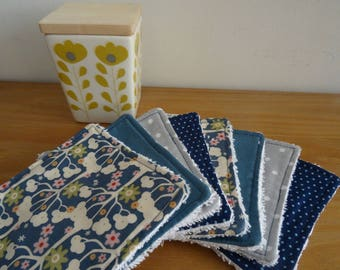 Set of 8 washable cotton, blue and grey