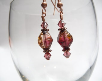 SALE Red Pink Amber Cranberry Copper Czech Glass Crystal Copper Dangle Earrings