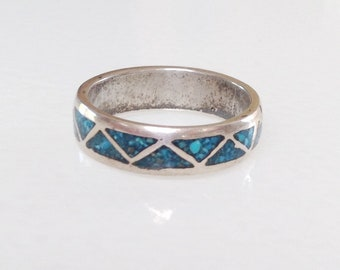 Native American Old Pawn Navajo Turquoise Sterling Silver Inlay Band Ring Size 11