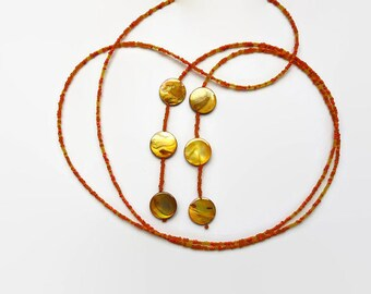 Lariat seed bead necklace, yellow orange necklace, XL necklace, long yellow and orange necklace, yellow round shell beads,