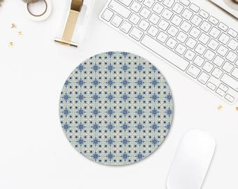 Round Mousepad, Barcelona Tiles Mousepad Art, Mosaic Mouse Pad, Office Desk Gifts, Office Mouse Pad, Pattern Mouse Pad, Laptop Accessories