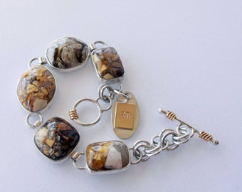 White Horse Jasper and Silver Articulated Bracelet with Rose Brass Accents