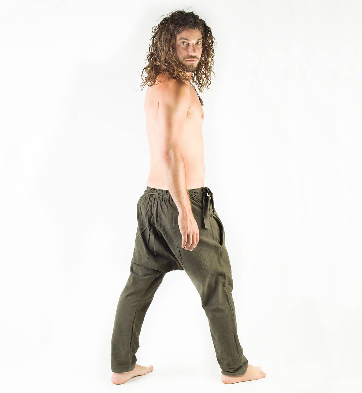 Mens Pants Green Afghani Harem Drop Crotch, Primitive Handmade Comfortable Yoga Gypsy Boho Alibaba Aladdin Festival Goa two Pockets AJJAYA