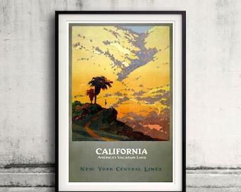 California, America's vacation land 1925 vintage travel Fine Art Glicée Poster Digital Wall art Illustration Print Decorative - SKU 0019