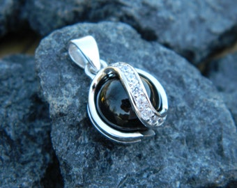 Interchangeable CZ Pendant with 10mm Black Onyx stone.