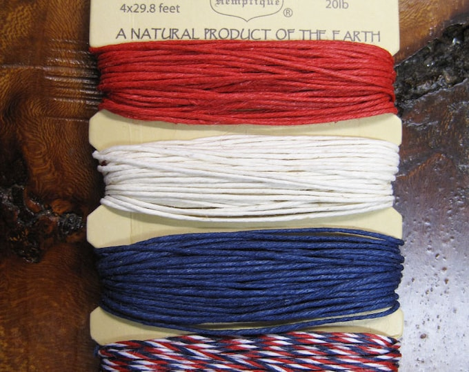 Featured listing image: Americana Red White and Blue Hemp Cord for Macrame Jewelry Making 4 colors 15 ft each