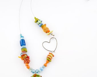 Colorful Bib Necklace, Summer Necklace, Lampwork Necklace Glass beads Necklace handmade necklace combined metal