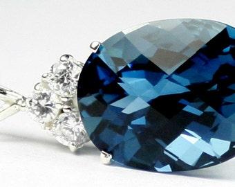 London Blue Topaz, 925 Sterling Silver Pendant, SP016