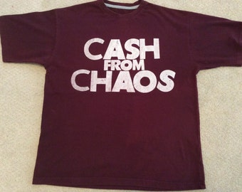 """Seditionaries - Cash from Chaos - Vintage Punk Tee - Rock and Roll Swindle - Tshirt - Burgundy- Claret- Large 40"""""""