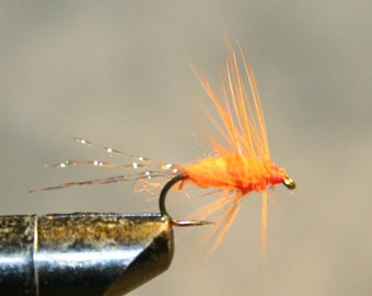 Trout Fishing - Fly Fishing Flies - Great Attractor Fly - Made in Michigan - Orange Dubbing and Feather - Krystal Flash Tail -Number 12 Hook