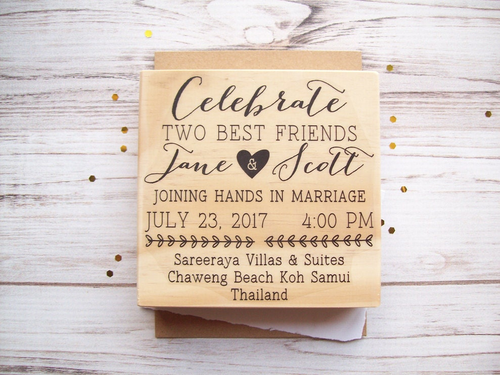 Wedding Invite Stamp: Wedding Invitation Stamp Custom Invite Rubber Stamp