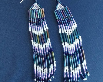 Native American Style Purple, White, and Rainbow Colored Chandelier Earrings Made with Czech Seed and Bugle Beads.
