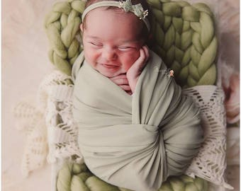 Baby Photography Prop Blanket Spring Green Chunky Knit Baby Wool