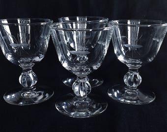 4 IMPERIAL SIMPLICITY Mid Century / Deco STARBURST Etch U0026 Lobe Stem Martini  / Manhattan /