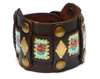 Painted Rose Boho Leather Cuff Bracelet Bohemian Hippie Jewelry FREE SHIPPING