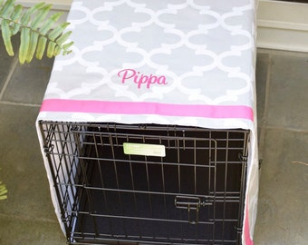 French Grey Crate Cover Quatrefoil with Pink Name || Dog Kennel Cover || Personalize with Pet Name || Custom Gift || Three Spoiled Dogs