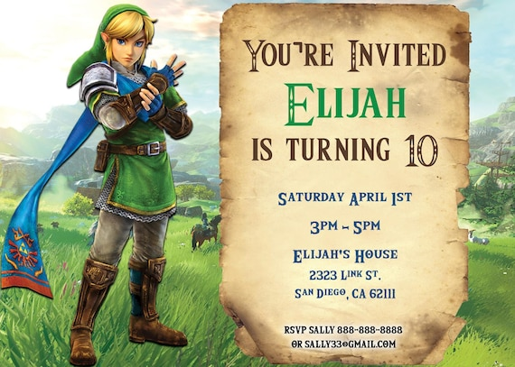 Legend of zelda birthday invitation stopboris Choice Image