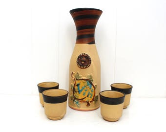 Pacific Stoneware B Welsh 5 Piece Carafe and 4 Cups set. Mid Century