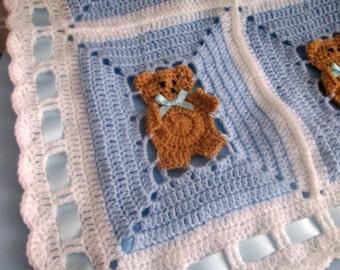 Crochet Pattern Afghan Blanket teddy bear UK PATTERN PDF Instant Download