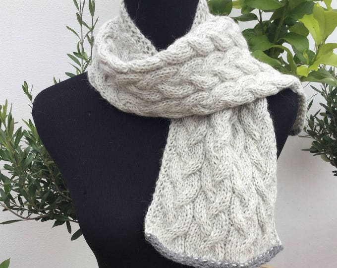 Pure alpaca cable scarf, cable scarf, alpaca scarf, pale grey scarf by Willow Luxury