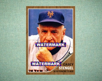 """Casey Stengel New York Mets, ORIGINAL """"Card That Could Have Been"""" by MaxCards, 1962 Style Custom Baseball Card 2.5 x 3.5 MINT"""